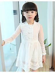 Girl's Casual/Daily School Solid Dress,Cotton Spring Long Sleeve