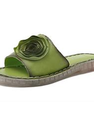 Women's Sandals Summer Comfort PU Outdoor Casual Flat Heel Flower Walking