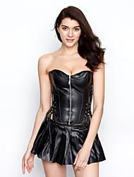 shaping shapewear encabeça fitas poli-algodão / zipper preto sexy lingerie shaper