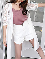 Women's Beach Simple Summer Cloak/Capes,Solid Round Neck ½ Length Sleeve Long Cotton Lace