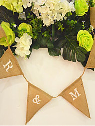 13*15cm Flags 2m Mr & Mrs Wedding Photo Props Vintage Banner Jute Burlap Bunting Rustic Garland Party Hanging Decoration