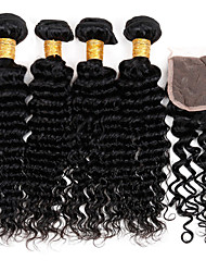 Vinsteen 7A Brazilian Deep Curl Wave with 4*4 inch Lace Closure Human Hair Weave 100% Unprocessed Hair Wefts Natural Color Can Be Dyed