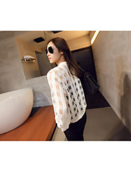 2015 new fashion thin sun protection clothing transparent organza plaid jacket sun protection clothing