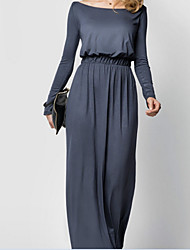 Women's Going out Holiday Sheath Dress,Solid Boat Neck Maxi Long Sleeve Rayon Nylon Summer Mid Rise Micro-elastic Thin