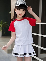 Girls' Casual/Daily Sports School Color Block Sets,Polyester Summer Short Sleeve Clothing Set