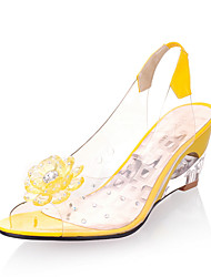 Women's Sandals Spring Summer Fall Slingback PU Office & Career Party & Evening Dress Wedge Heel Rhinestone