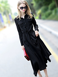 Model real shot in Europe station 2017 spring new temperament casual dress was thin cotton drawstring dress