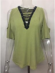 2017 aliexpress amazona eaby nuevo profundo v-cuello de encaje algodón strapless de manga corta camiseta
