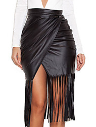 Women's Tassel Black High Waist Faux Leather Fringed Skirt