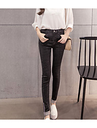 Women's Skinny Jeans Pants,Casual/Daily Simple Solid Low Rise Zipper Button Cotton Micro-elastic Fall Winter