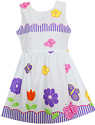 Girls Dress Flower Butterfly Print Dresses Party Holiday Princess Children Clothes