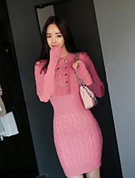2017 automne nouvelle coréenne à double boutonnage col tailleur en laine de torsion mince talonnage robe en tricot