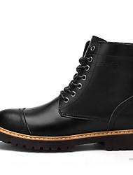 Men's Boots Spring Summer Fall Winter Comfort Leather Office & Career Casual Low Heel Black Dark Brown Light Brown