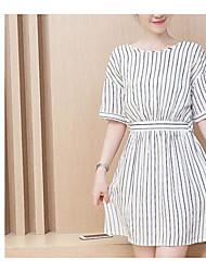 Summer Korea was thin waist chiffon striped dress Girls long paragraph flounced blouse skirt real