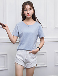 Signer le printemps et l'été nouvelle version coréenne d'un t-shirt en coton en bambou de couleur unie étudiantes féminines minimaliste en