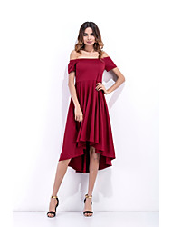 Women's Party Anniversary Family Gathering Club Company Party Work Sexy Street chic A Line Dress,Solid Color Round Neck AsymmetricalShort