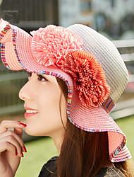 Two Flowers Sunscreen Patchwork Big Straw Hat Sun Hats Wide Large Brim Floppy Summer Beach Hat