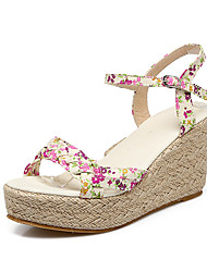 Women's Sandals Summer Fall Club Shoes Fabric Office & Career Dress Casual Wedge Heel Buckle Flower