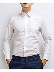 Men's Plus Size Work Simple Shirt,Solid Shirt Collar Long Sleeve Cotton Polyester Thin