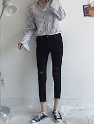Real shot models fall Korean chic minimalist style high waist denim pantyhose hole Slim thin