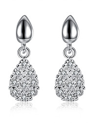 Exquisite Silver Plated Clear Crystal Teardrop Earrings for Wedding Party Women Jewelry Accessiories