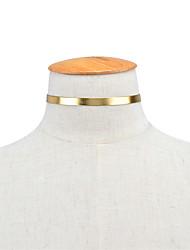 Жен. Ожерелья-бархатки Бижутерия Одинарная цепочка Кожа Медь Мода Euramerican Простой стиль Золотой Серебряный Красный Бижутерия Для