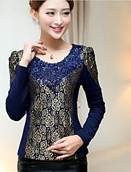 2016 new winter bud mesh yarn bottoming shirt female long-sleeved shirt plus velvet high-end small wild