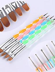 5Pcs Dual-ended UV Gel Painting Nail Brush Dotting Pen Colorful Handle Manicure Nail Art Pen Brush ToolSet