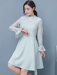 Sinal # 9926 nova onda da versão coreana de slim cintura trompete mangas rendas vestido tutu saia