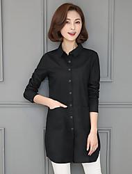 2017 Primavera e no Outono nova camisa de algodão feminina camisa de mangas compridas versão coreana do longa seção de soltas grandes