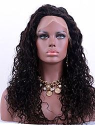 Top Grade Brazilian Virgin Hair Lace Front Wigs Kinky Curly 100% Human Remy Hair Lace Wigs Natural Black Color