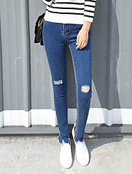 Sign leaves small holes in tight jeans female waist significantly thin feet pencil pants casual
