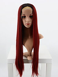 Black Root Red Color Synthetic Lace Front Wigs Long Straight Hair Heat Resistant Fiber Hair Adjustable Wigs for Fashion Woman