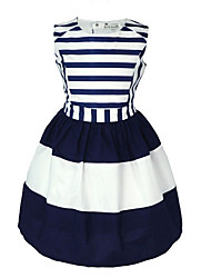 Girl's Solid Striped Dress,Cotton Summer Sleeveless