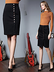 Women's High Rise Above Knee Skirts,Sexy Bodycon Denim Solid