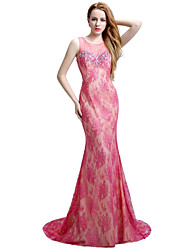 Formal Evening Dress Trumpet / Mermaid Jewel Sweep / Brush Train Lace Tulle with Beading Lace