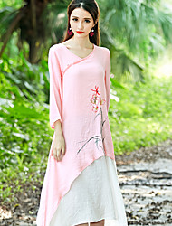 Sign spring and summer women's Chinese style improved Chinese dress sleeve dress long section Value