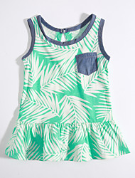 Casual/Daily Print Tee,Cotton Summer Sleeveless