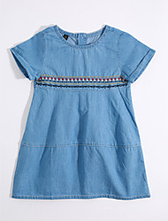 Girl's Casual/Daily Solid Dress,Cotton Linen Summer Short Sleeve