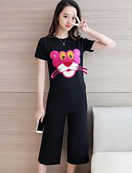 signe nouveau costume de la mode féminine à manches courtes pull col rond + neuf pantalon jambe large costume deux pièces