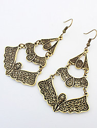 Teardrop Drop Earrings Jewelry Fashion Vintage Party Daily Alloy 1 pair Bronze Silver