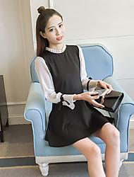 signer 2017 modèles de printemps version coréenne était mince avec col en dentelle à manches longues petites femmes robe noire taille