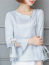 Women's Going out Casual/Daily Street chic Spring Shirt,Solid Round Neck Long Sleeve Polyester Medium