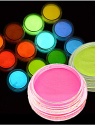 1Bottle Hot Fashion Colorful Nail Art Neon Pigment Powder Fluorescent Glitter Powder Glow In Dark Acrylic Powder Nail Art DIY Beauty Pigment YS01-12