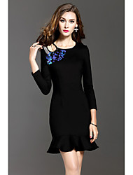 2016 new winter round neck beaded long-sleeved dress women sexy package hip fishtail skirt was thin