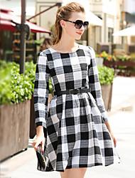 Sign Europe Spring new cotton coarse lattice dress temperament skirt bottoming skirt with belt