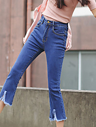 Women's High Rise Inelastic Jeans Pants,Simple Bootcut Solid
