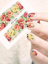 10pcs/set Hot Flower Nail Art Water Transfer Decals Beautiful Flower Nail Art Beauty Sticker STZ-074