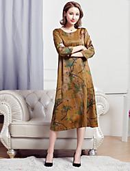 Sign fake two big yards silk dress silk short-sleeved summer dress fashion long section hedging Women