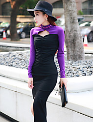 2015 new fall and winter clothes Korean version of the beads sexy hollow folds spell color dress slit skirt dress